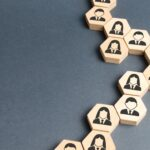 Symbols of employees on the chains of hexagons